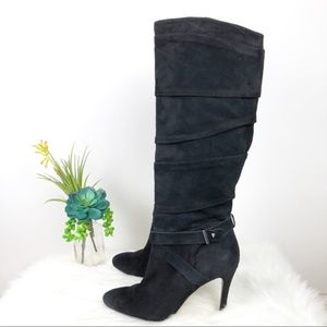Guess Black Suede Leather Knee High Heel Boots N39